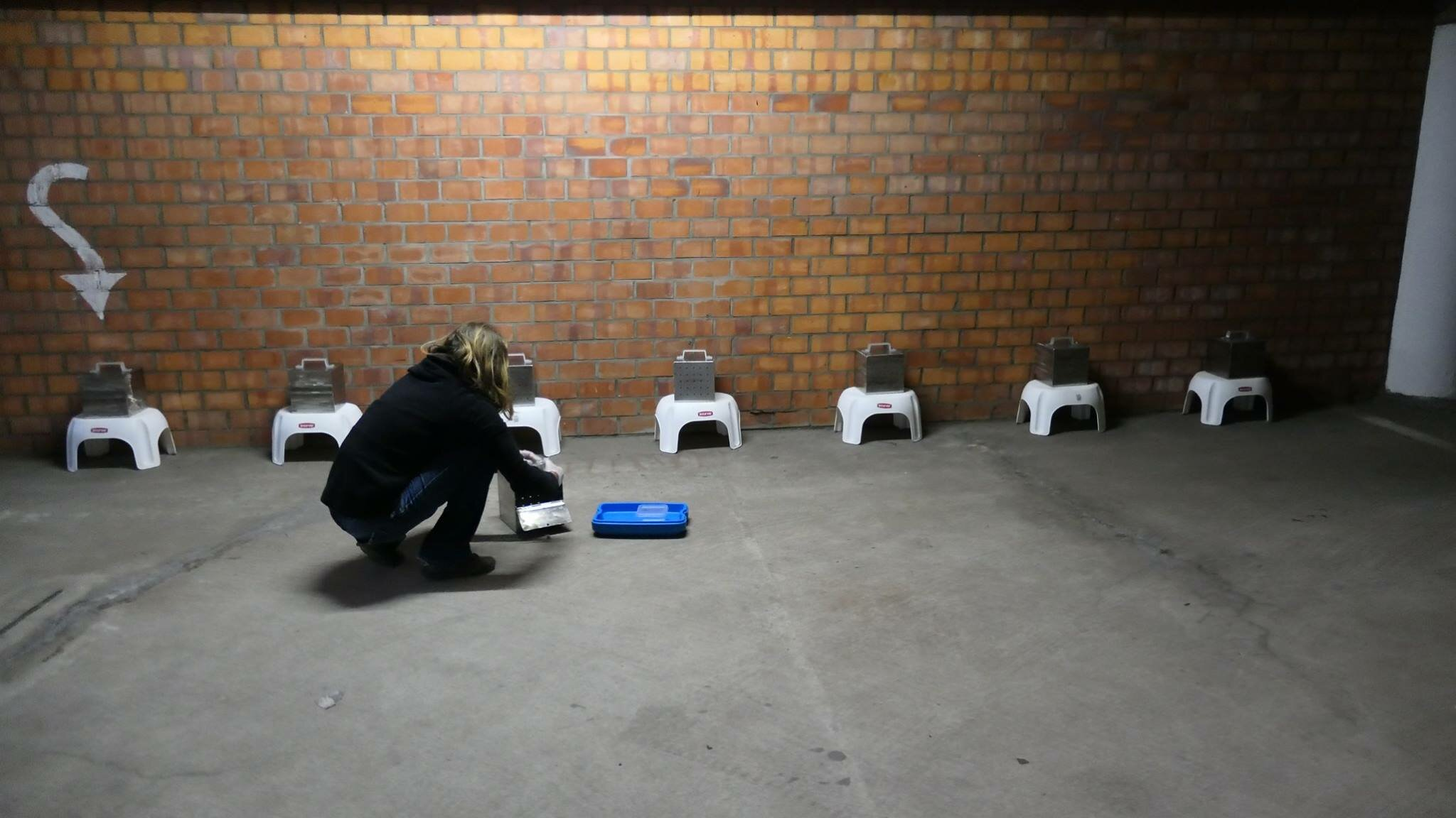 Ellen vult bakjes met geuren om ecologische zoekhonden te trainen