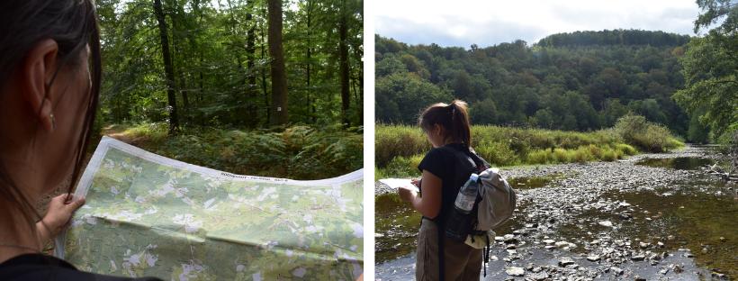 Links: detail van de kaart, Rechts: kaartlezen bij de rivier de Semois