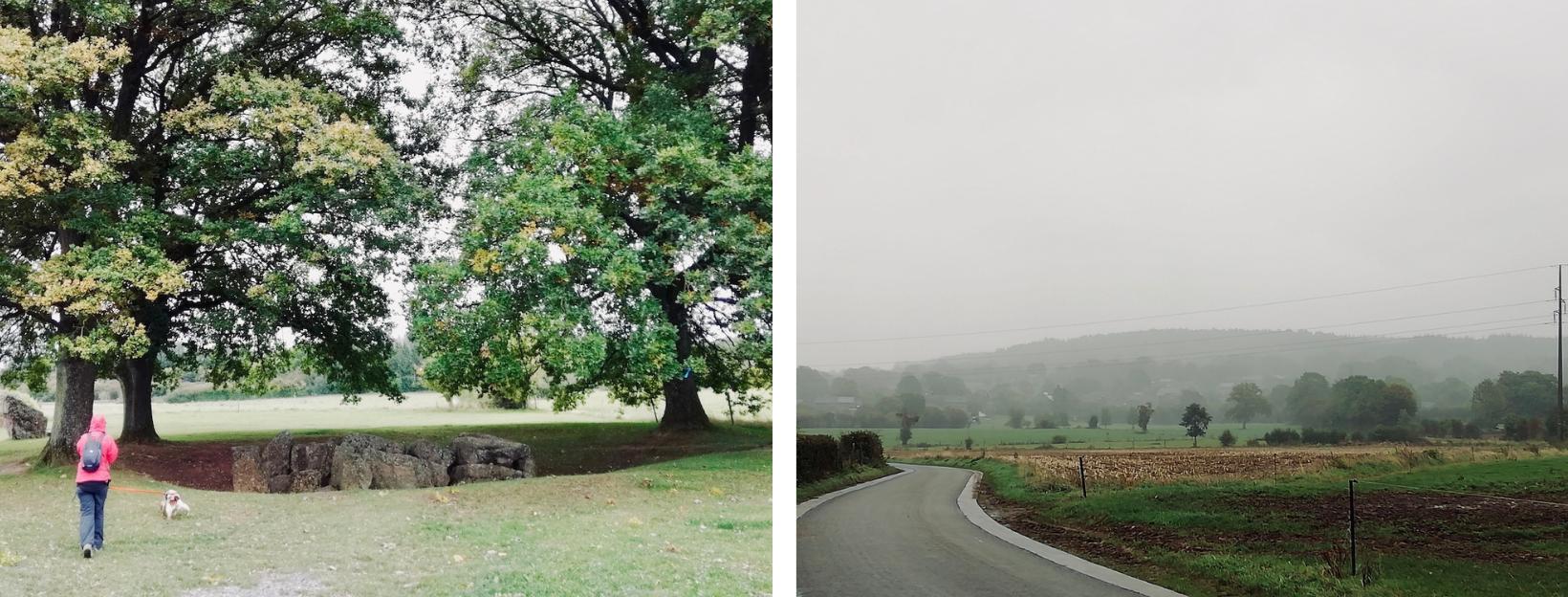 Links: dolmen van Oppagne, rechts: Wéris in de mist