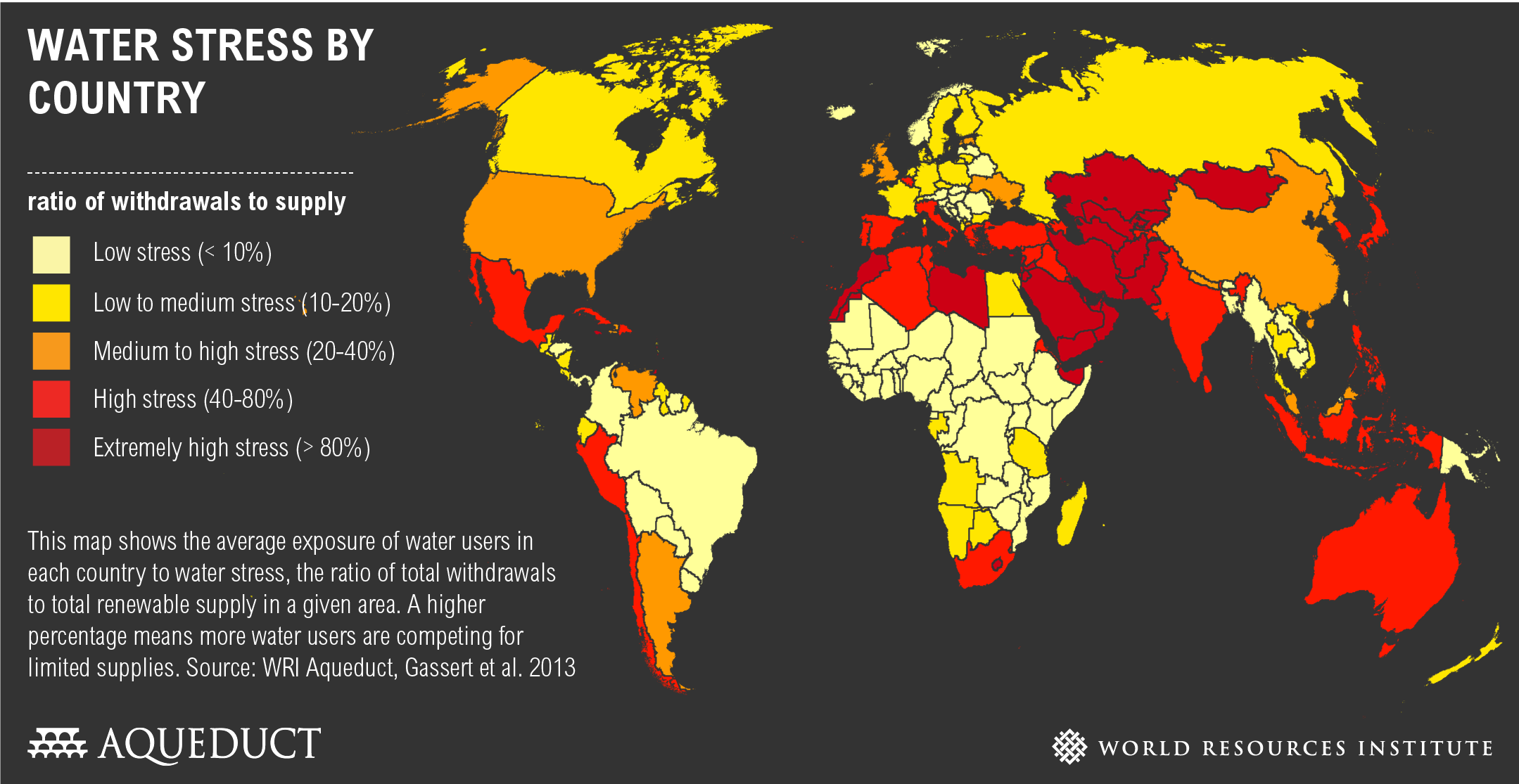 Wereldkaart met droogteproblematiek per land