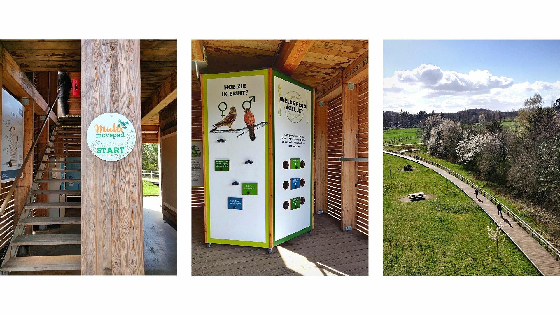 Van links naar rechts: het startpunt, het educatieve openluchtmuseum en het uitzicht vanop de uitkijktoren