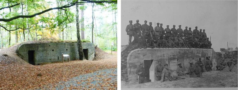 Troepenbunker nu en in 1916
